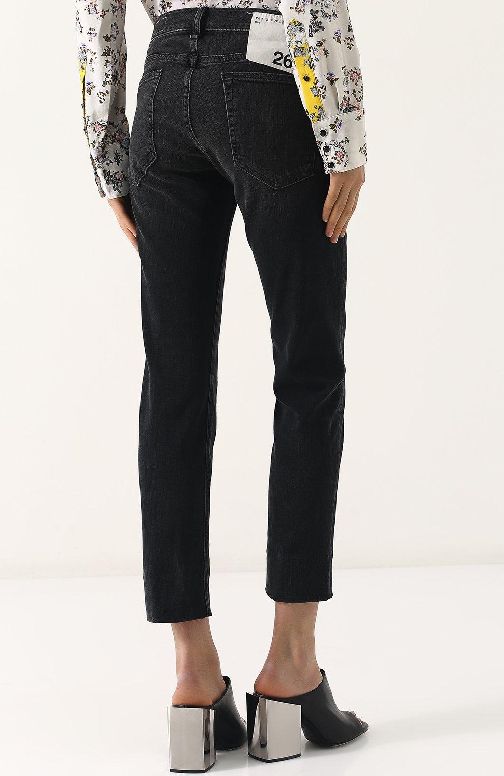 Женские укороченные джинсы прямого кроя с потертостями RAG&BONE серого цвета, арт. W2592K502KUR | Фото 4