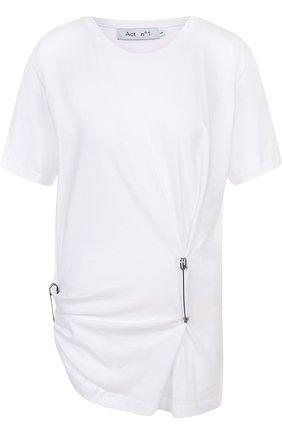 Однотонная хлопковая футболка с драпировкой | Фото №1