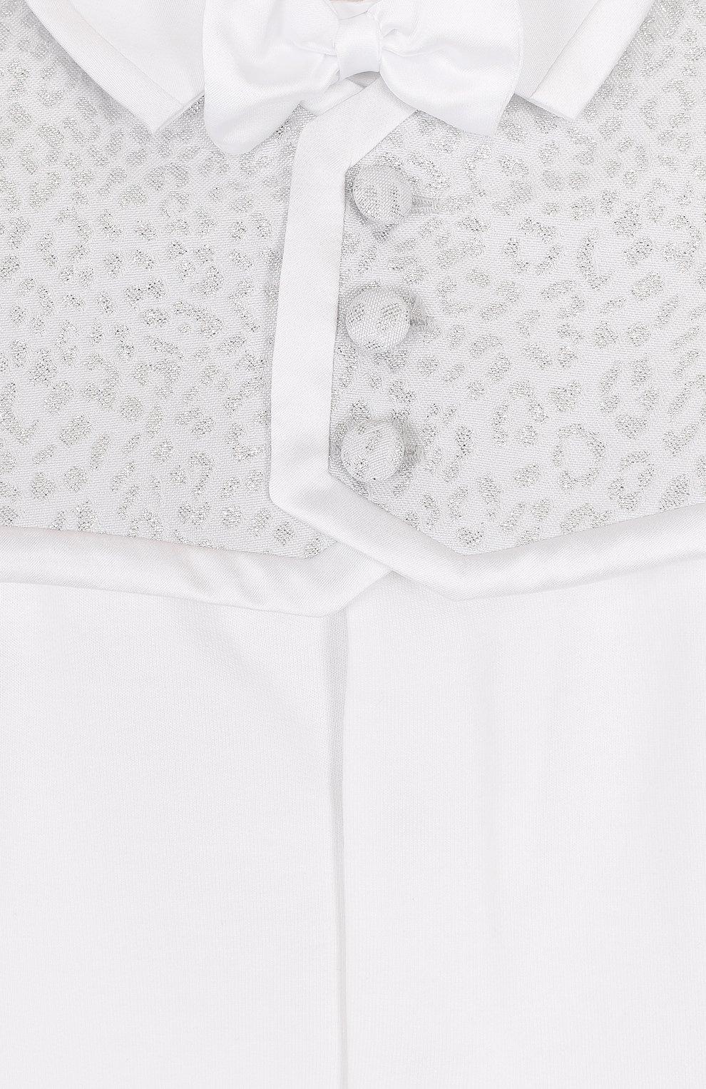 Детский хлопковый комбинезон с декором ALETTA белого цвета, арт. R88523/1M-18M | Фото 3