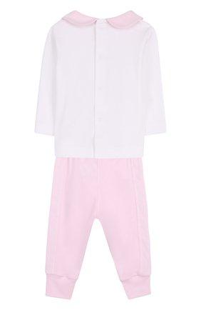 Хлопковый комплект из брюк с лонгсливом и кардиганом | Фото №3