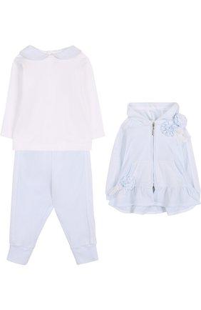Детский хлопковый комплект из брюк с лонгсливом и кардиганом ALETTA голубого цвета, арт. RB88378/1M-18M | Фото 1