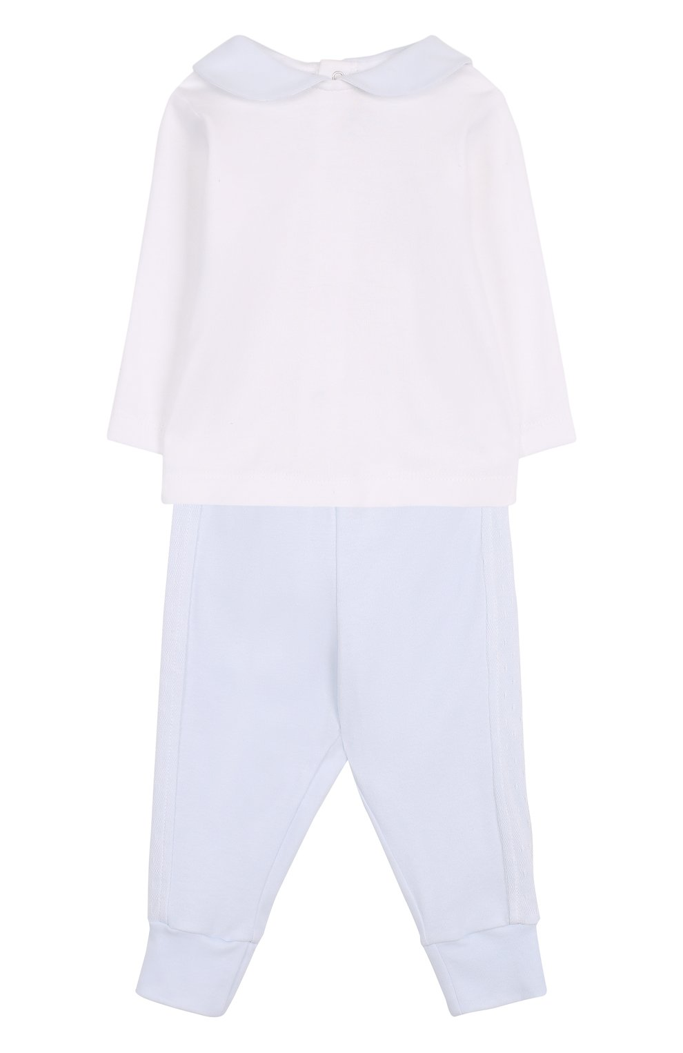 Детский хлопковый комплект из брюк с лонгсливом и кардиганом ALETTA голубого цвета, арт. RB88378/1M-18M | Фото 2