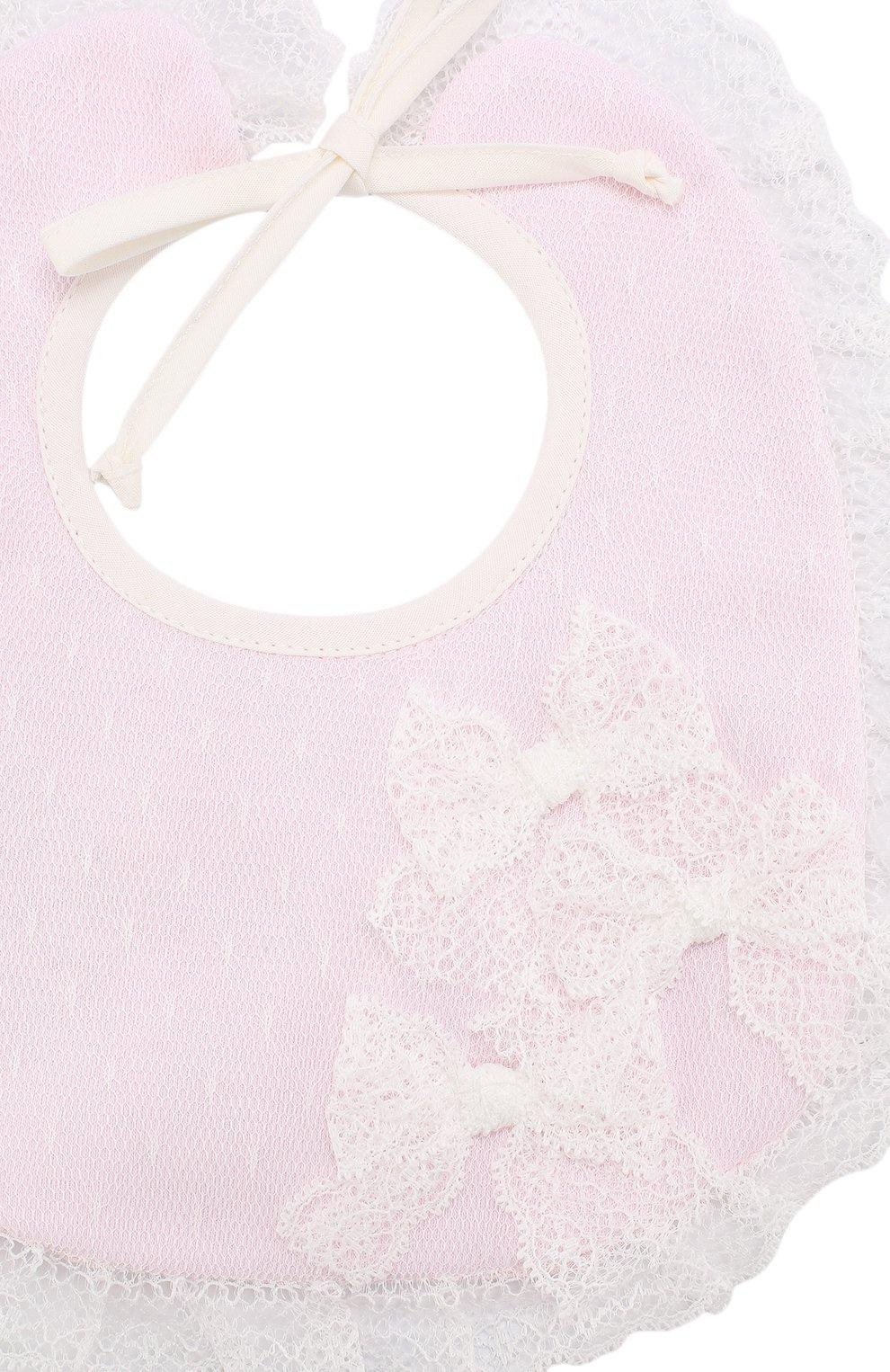 Детский хлопковый нагрудник с кружевной отделкой ALETTA розового цвета, арт. RB88369 | Фото 3