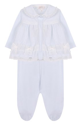 Детский хлопковый комплект из брюк и распашонки ALETTA голубого цвета, арт. RB88374/1M-18M | Фото 1 (Материал внешний: Хлопок; Рукава: Длинные)