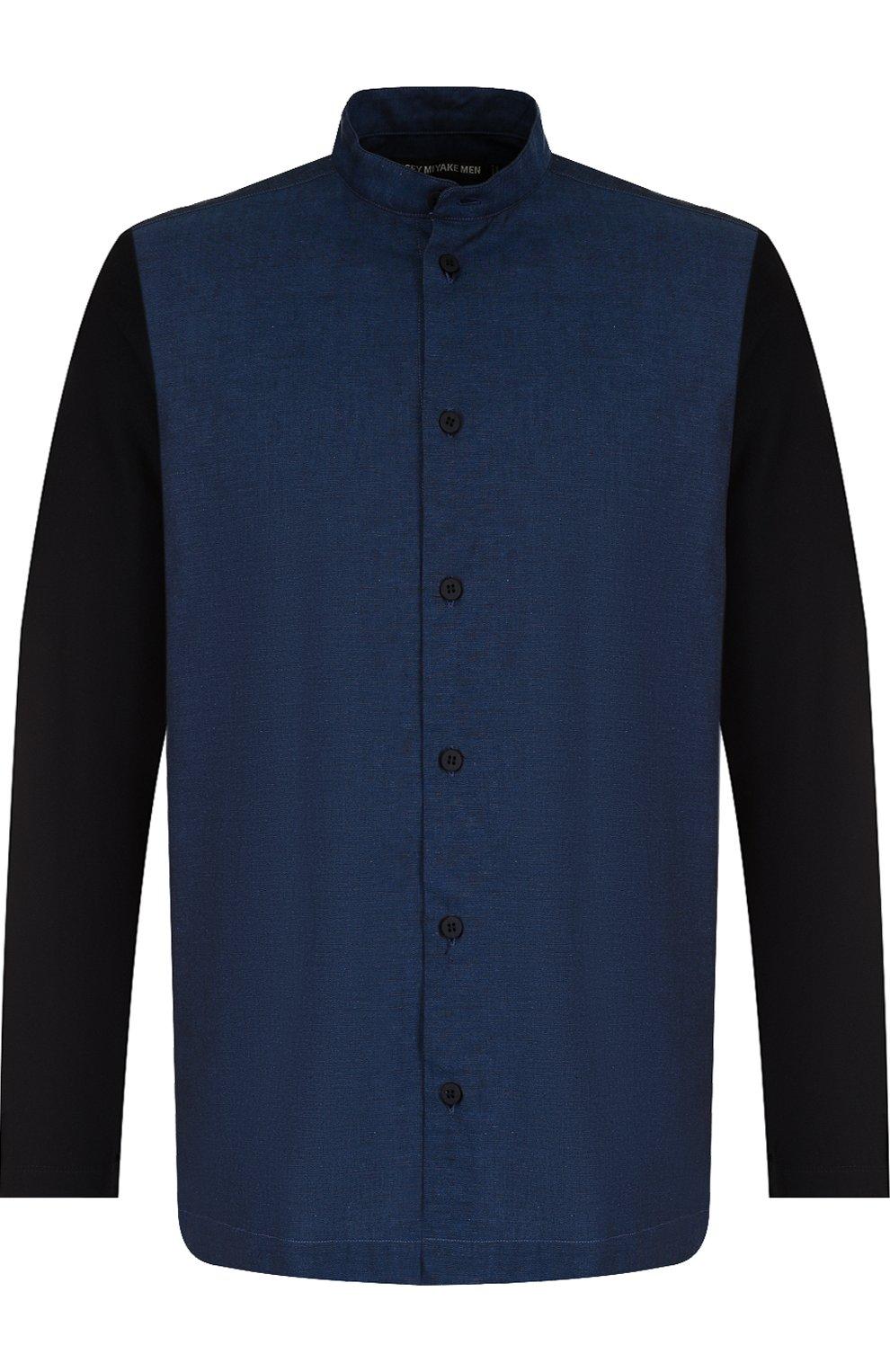 Мужская хлопковая рубашка с воротником-стойкой ISSEY MIYAKE синего цвета, арт. ME86-JJ023 | Фото 1