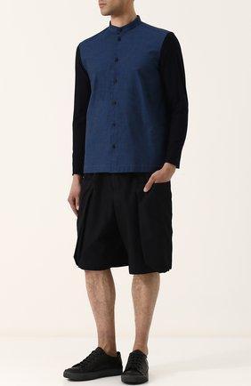 Мужская хлопковая рубашка с воротником-стойкой ISSEY MIYAKE синего цвета, арт. ME86-JJ023 | Фото 2