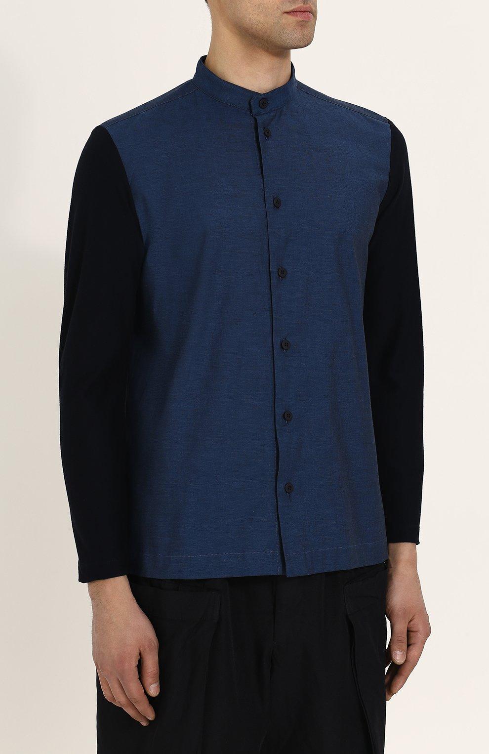 Мужская хлопковая рубашка с воротником-стойкой ISSEY MIYAKE синего цвета, арт. ME86-JJ023 | Фото 3