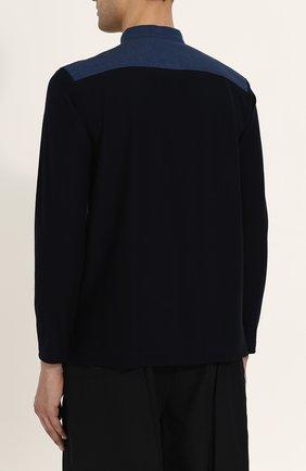 Мужская хлопковая рубашка с воротником-стойкой ISSEY MIYAKE синего цвета, арт. ME86-JJ023 | Фото 4