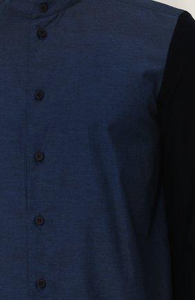 Мужская хлопковая рубашка с воротником-стойкой ISSEY MIYAKE синего цвета, арт. ME86-JJ023 | Фото 5