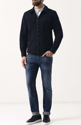 Куртка на молнии с отложным воротником Belstaff темно-синяя | Фото №1