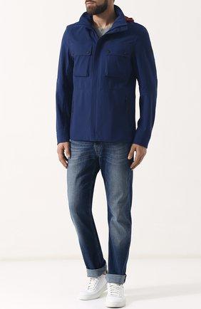 Куртка на молнии с капюшоном Belstaff синяя | Фото №1