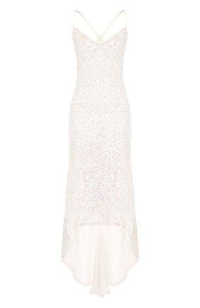 Шелковое платье-миди асимметричного кроя с пайетками   Фото №1
