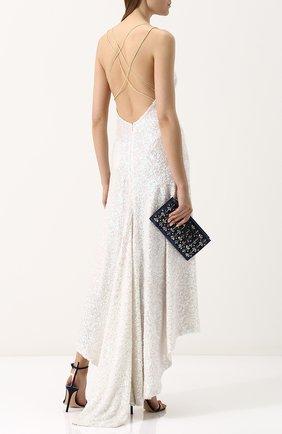 Шелковое платье-миди асимметричного кроя с пайетками Walk of Shame белое | Фото №1