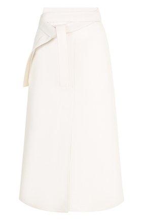Однотонная хлопковая юбка-миди   Фото №1