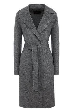 Однотонное пальто из смеси шерсти и кашемира с поясом Windsor серого цвета | Фото №1