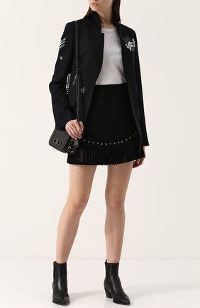 Замшевая мини-юбка с бахромой DROMe черная | Фото №1