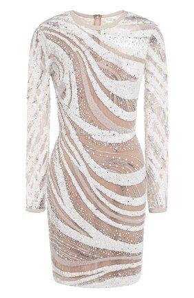 Приталенное мини-платье с длинным рукавом и пайетками | Фото №1