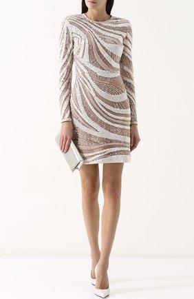 Приталенное мини-платье с длинным рукавом и пайетками Elie Saab белое | Фото №1