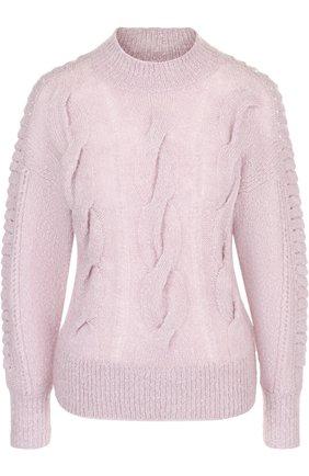 Шерстяной пуловер фактурной вязки с круглым вырезом | Фото №1