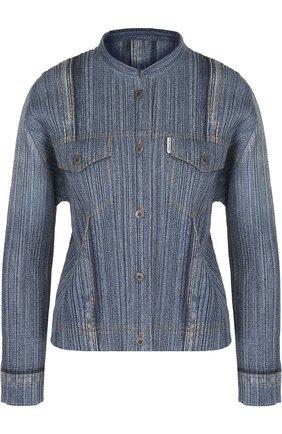 Плиссированная блуза с воротником-стойкой | Фото №1