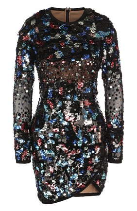 Приталенное мини-платье с длинным рукавом и пайетками Elie Saab разноцветное | Фото №1