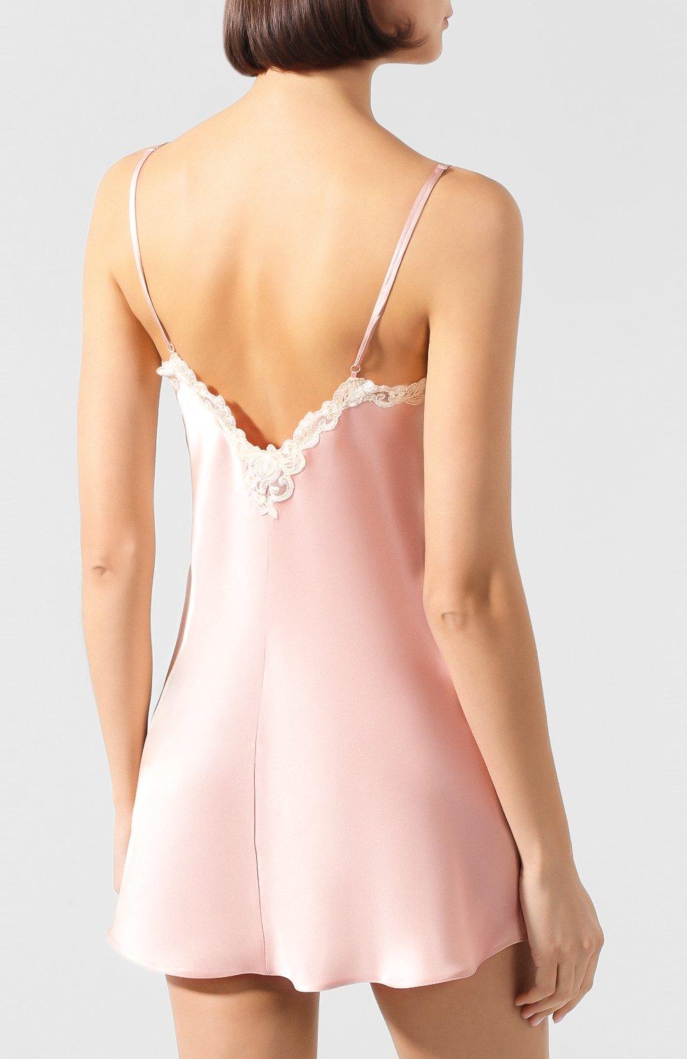 Женская шелковая сорочка LA PERLA розового цвета, арт. 0019227   Фото 4