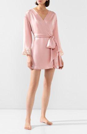 Женский шелковый халат LA PERLA розового цвета, арт. 0019230 | Фото 2