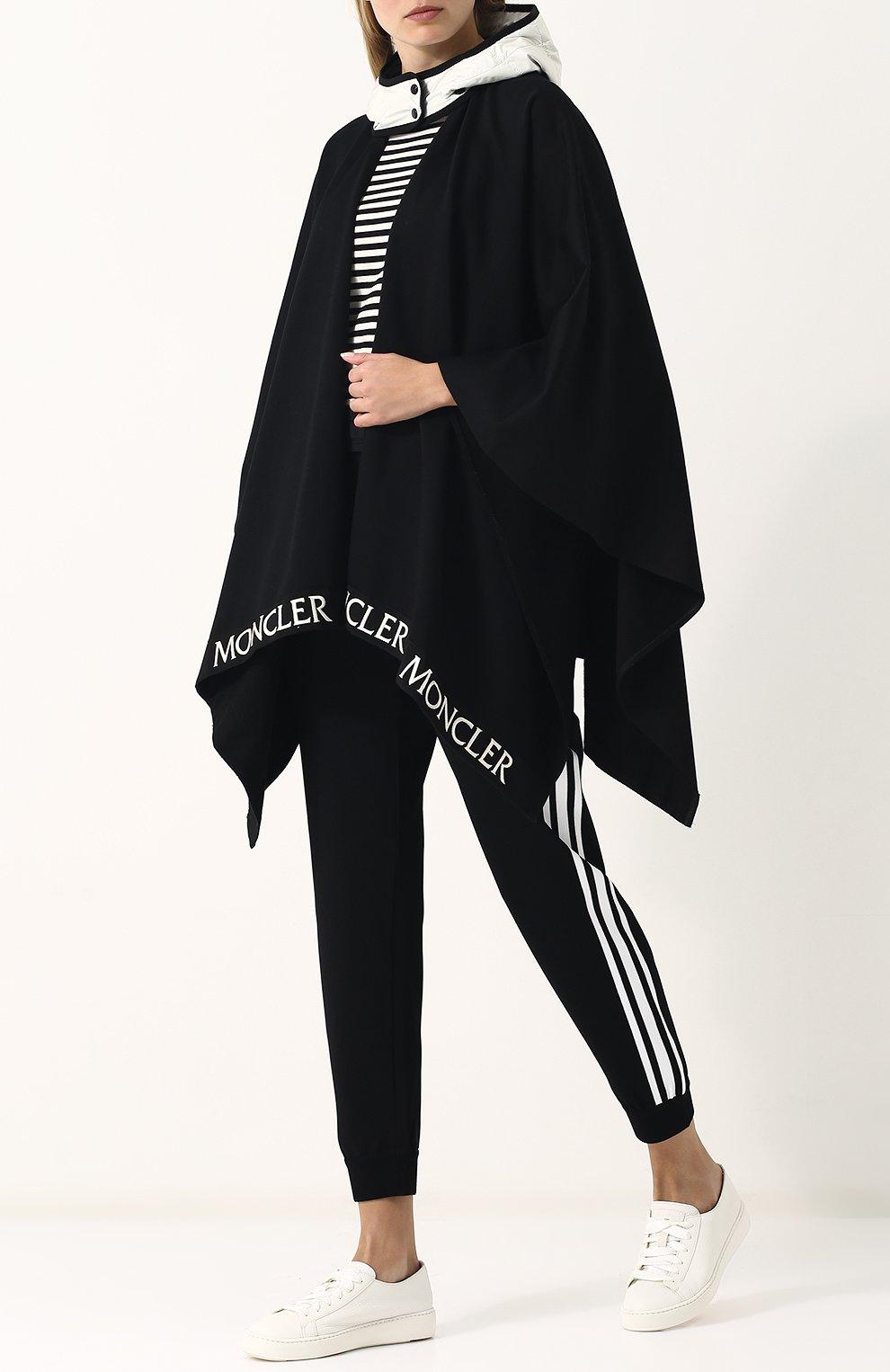 Хлопковое пончо с контрастным капюшоном Moncler черная   Фото №2