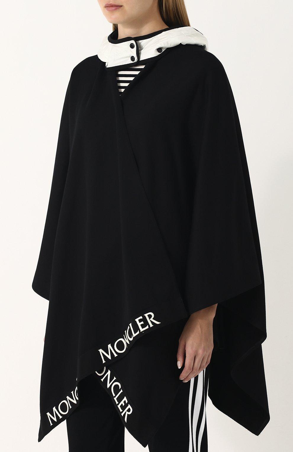 Хлопковое пончо с контрастным капюшоном Moncler черная   Фото №3