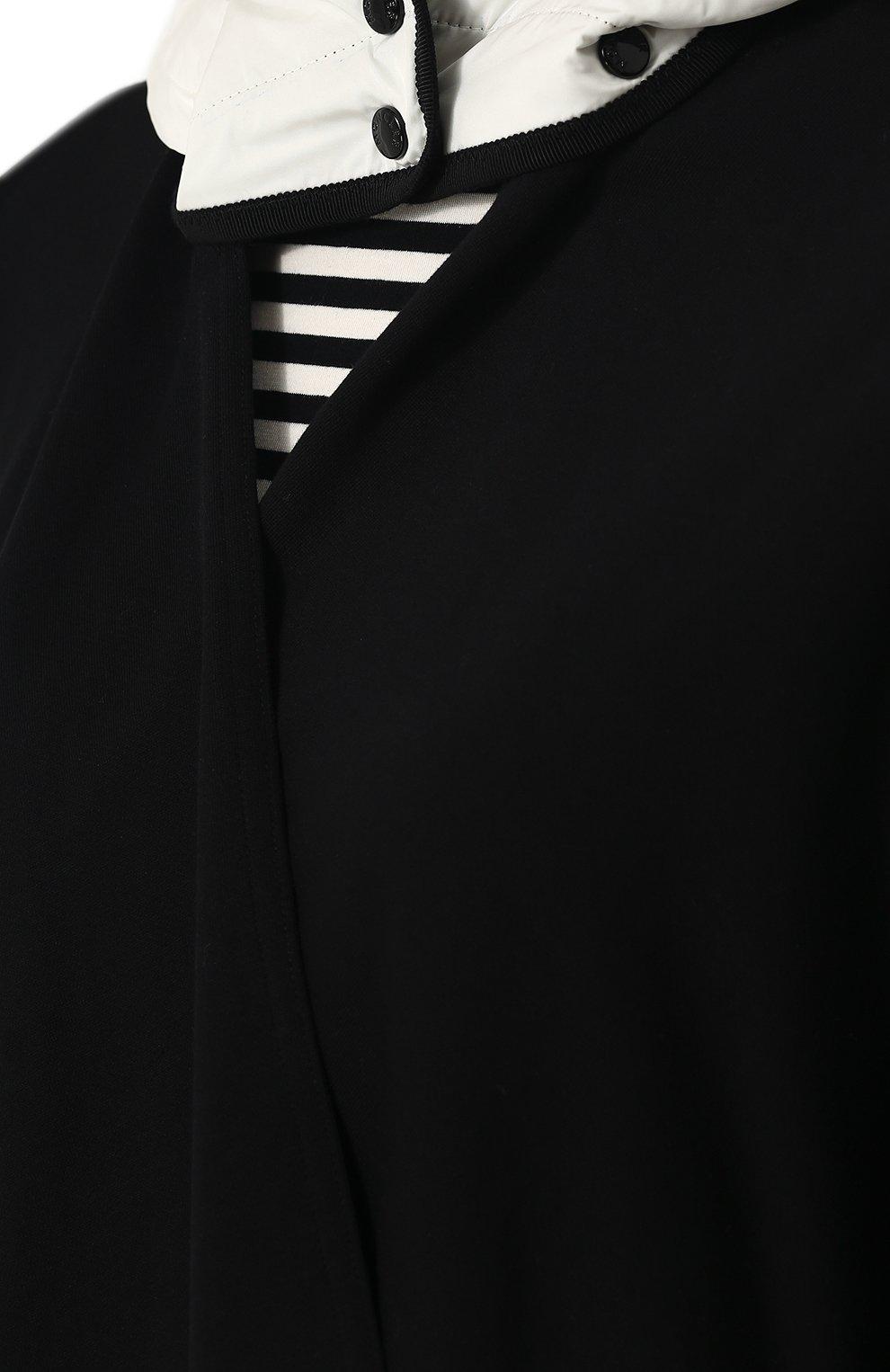 Хлопковое пончо с контрастным капюшоном Moncler черная   Фото №5