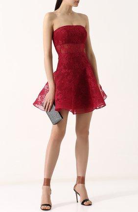 Кружевное платье-бюстье с пышной юбкой Basix Black Label бордовое | Фото №1