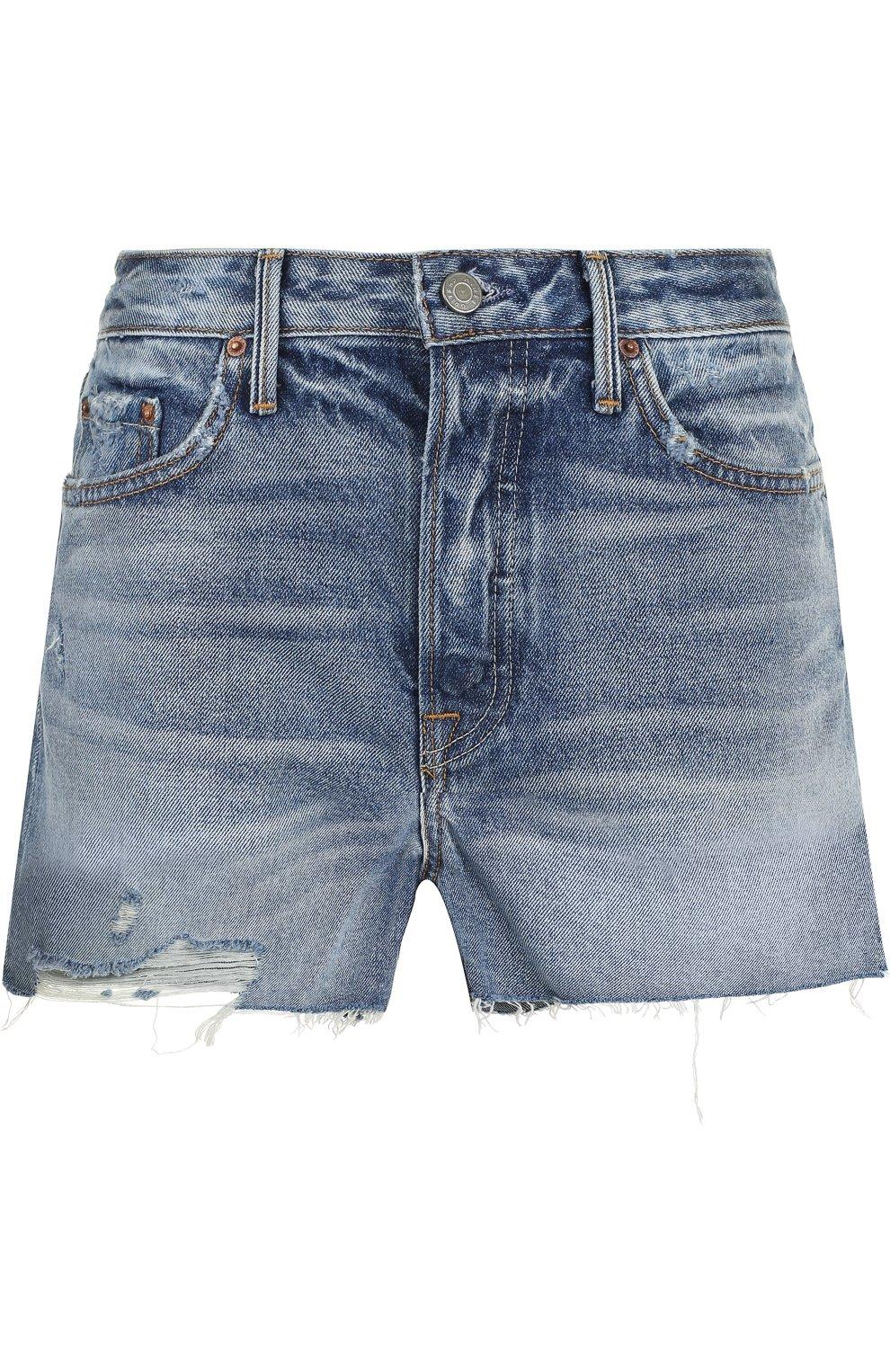 Женские джинсовые мини-шорты с потертостями GRLFRND синего цвета, арт. GF4076850692 | Фото 1