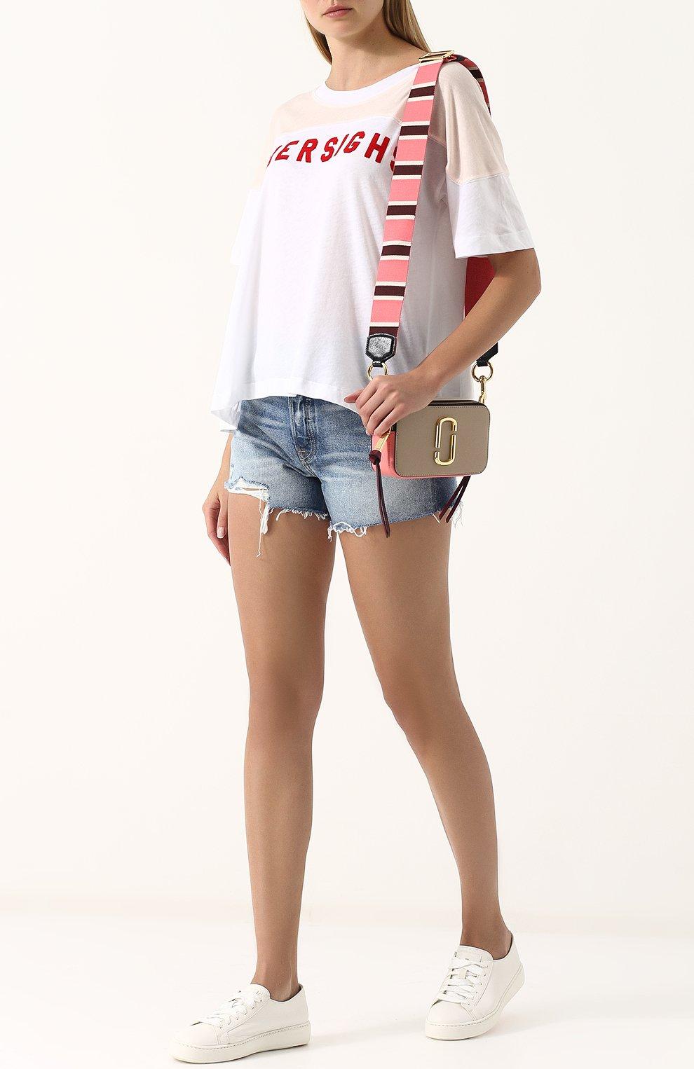 Женские джинсовые мини-шорты с потертостями GRLFRND синего цвета, арт. GF4076850692 | Фото 2