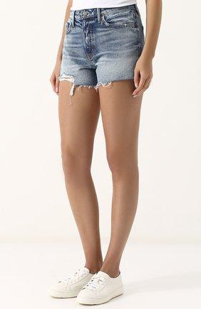 Женские джинсовые мини-шорты с потертостями GRLFRND синего цвета, арт. GF4076850692 | Фото 3