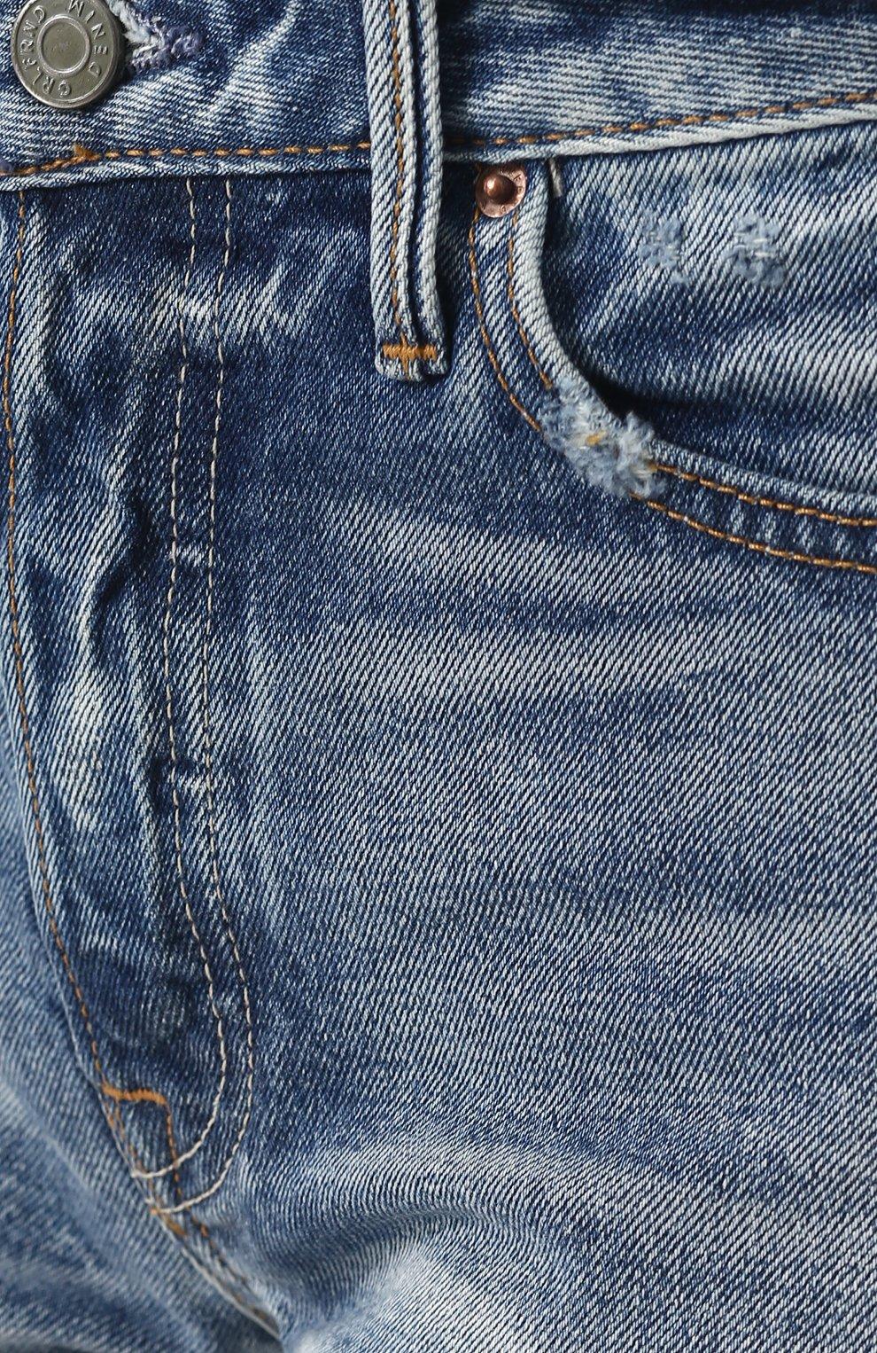 Женские джинсовые мини-шорты с потертостями GRLFRND синего цвета, арт. GF4076850692 | Фото 5