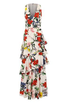 Приталенное платье-макси с принтом и оборками | Фото №1