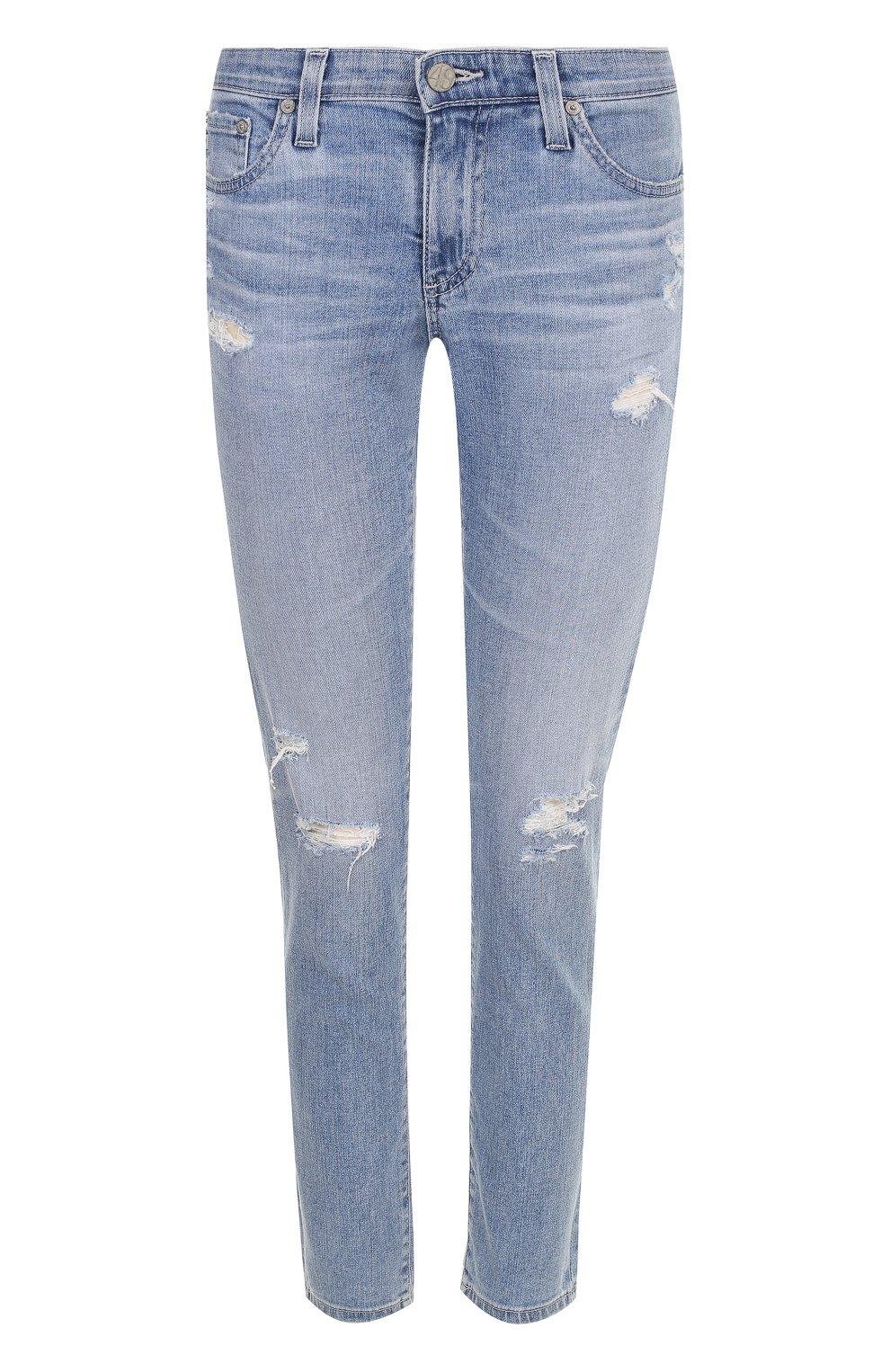 Женские укороченные джинсы-скинни с потертостями AG голубого цвета, арт. EMP1389/20Y-0CD | Фото 1