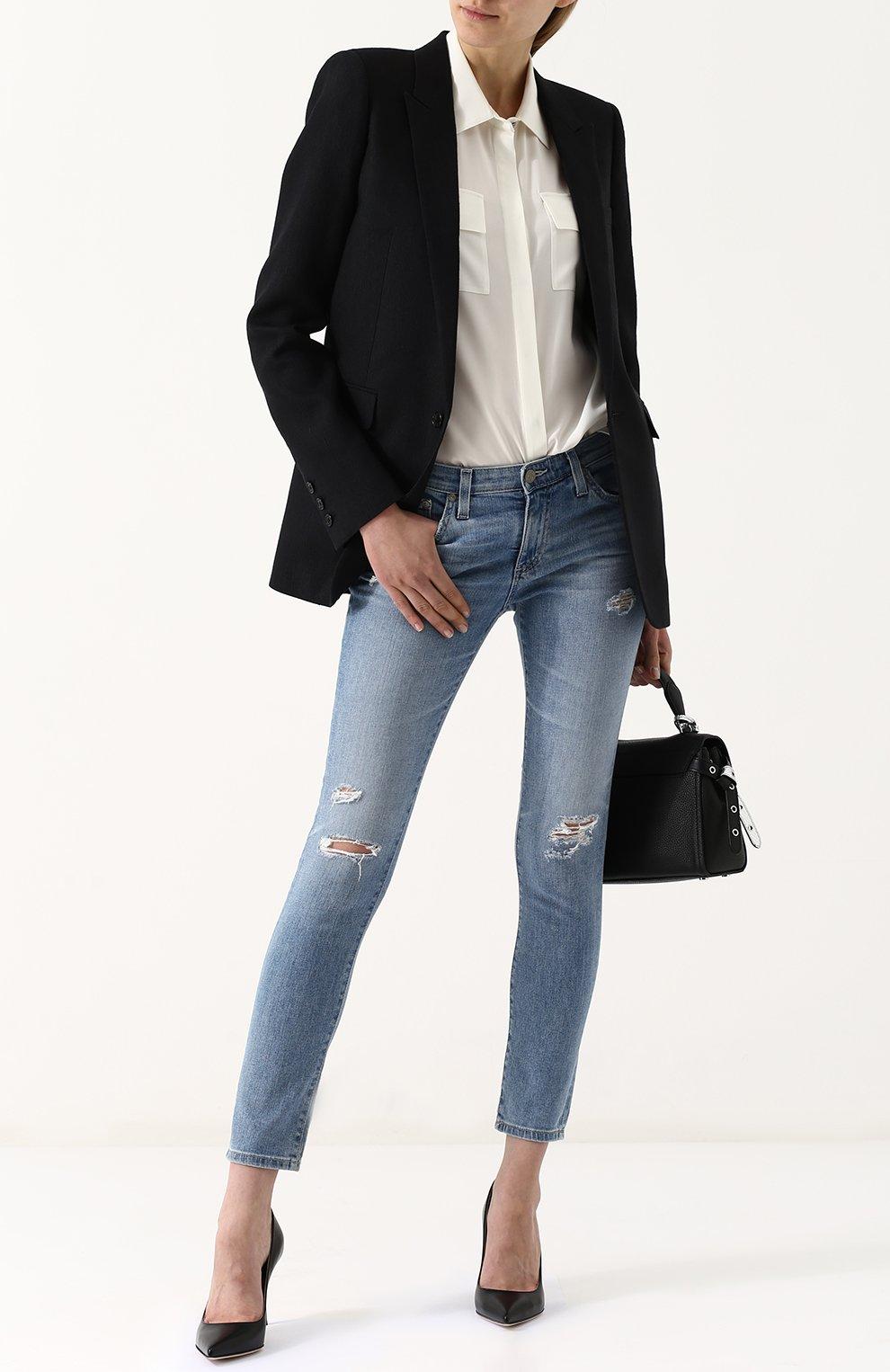 Женские укороченные джинсы-скинни с потертостями AG голубого цвета, арт. EMP1389/20Y-0CD | Фото 2