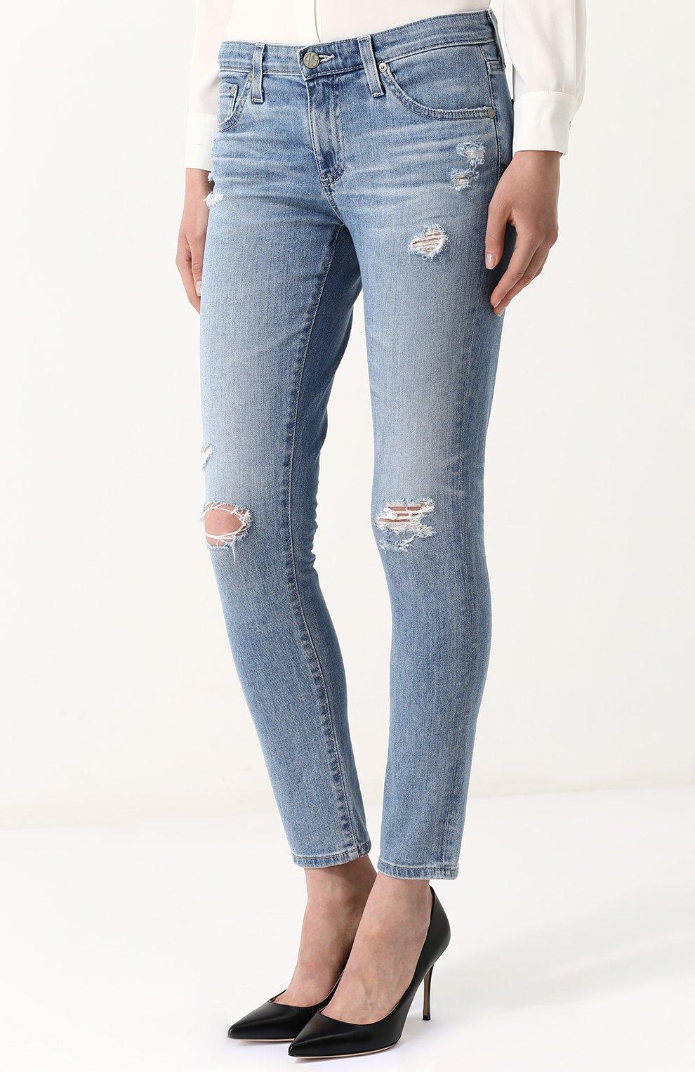 Женские укороченные джинсы-скинни с потертостями AG голубого цвета, арт. EMP1389/20Y-0CD | Фото 3