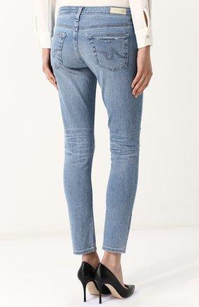 Женские укороченные джинсы-скинни с потертостями AG голубого цвета, арт. EMP1389/20Y-0CD | Фото 4
