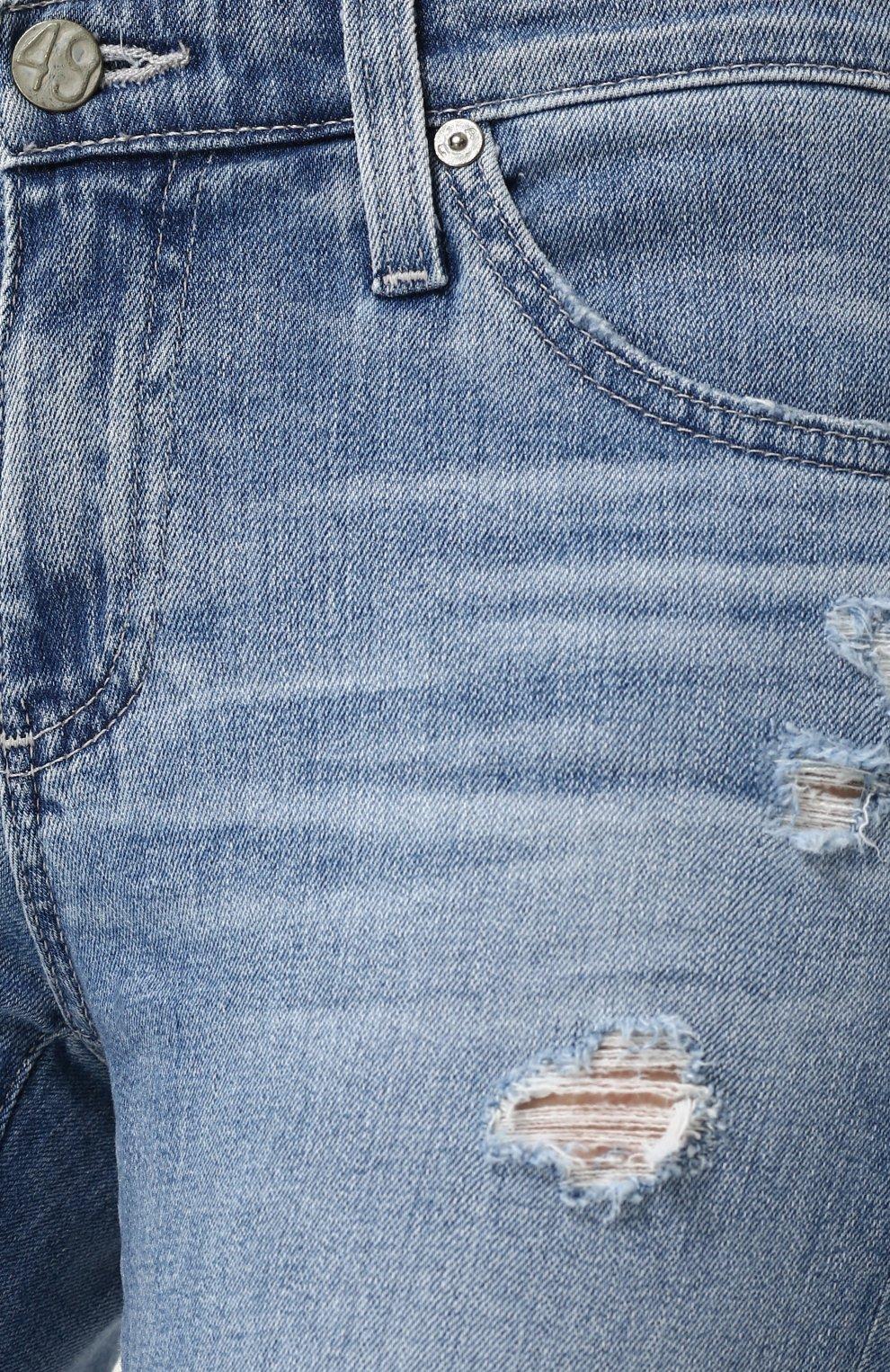 Женские укороченные джинсы-скинни с потертостями AG голубого цвета, арт. EMP1389/20Y-0CD | Фото 5