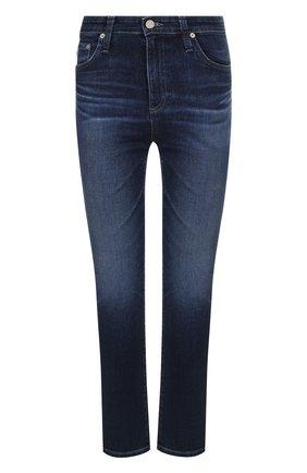 Укороченные джинсы прямого кроя с потертостями Ag синие   Фото №1