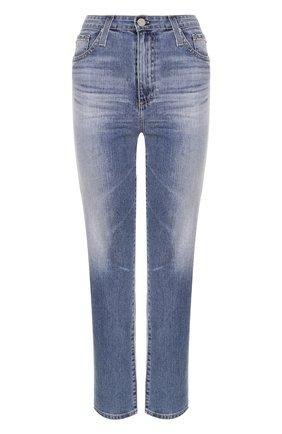 Укороченные джинсы прямого кроя с потертостями Ag голубые   Фото №1