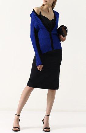 Приталенный кардиган с V-образным вырезом Maison Margiela синий | Фото №1