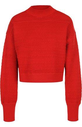 Однотонный вязаный пуловер свободного кроя | Фото №1