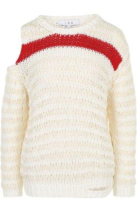 Хлопковый пуловер свободного кроя с разрезом на плече | Фото №1