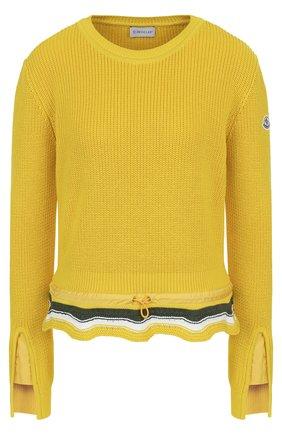 Хлопковый пуловер с оборкой и круглым вырезом Moncler желтый | Фото №1