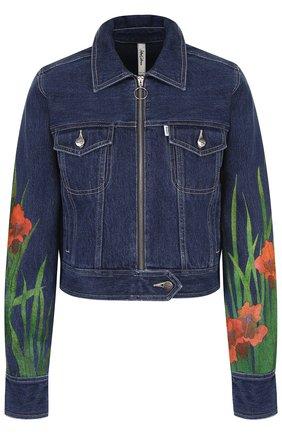 Укороченная джинсовая куртка с принтом