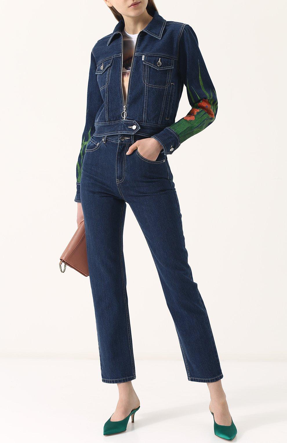 Укороченные джинсы прямого кроя | Фото №2