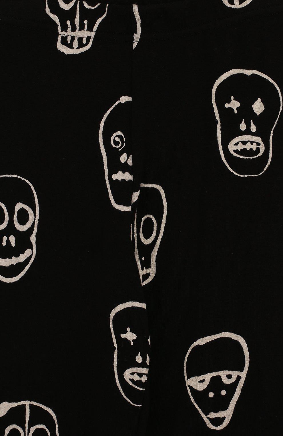 Детские хлопковые леггинсы с принтом NUNUNU черного цвета | Фото №3